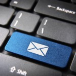 Blue keyboard key Contact us, web business background