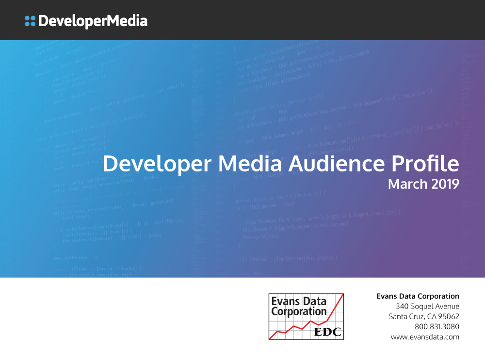 2019 Developer Media Audience Profile cover