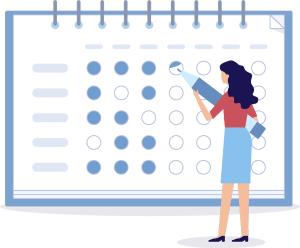 Woman working on content calendar
