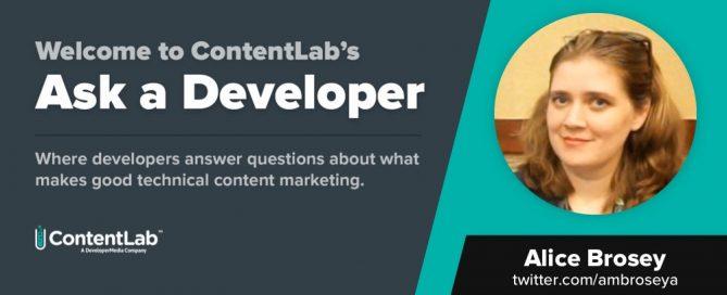 Ask a Developer - Alice Brosey
