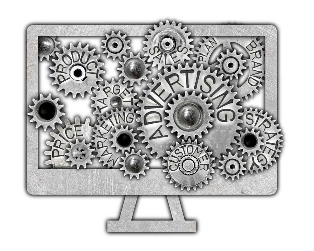 Computer with gears on screen