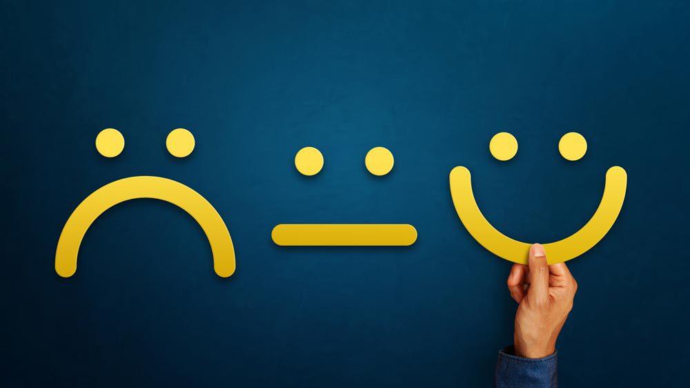 sad , neutral and happy emoticons