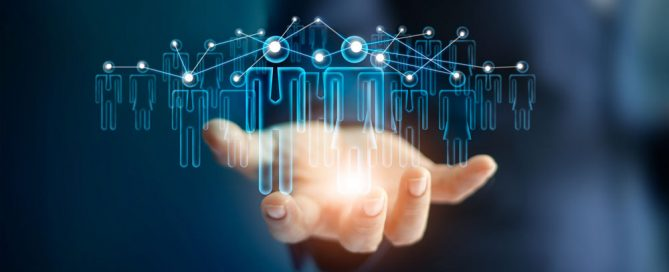 Graphical representation digitally connected people in hands reach